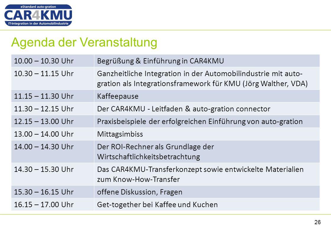 Agenda der Veranstaltung 10.00 – 10.30 UhrBegrüßung & Einführung in CAR4KMU 10.30 – 11.15 UhrGanzheitliche Integration in der Automobilindustrie mit a