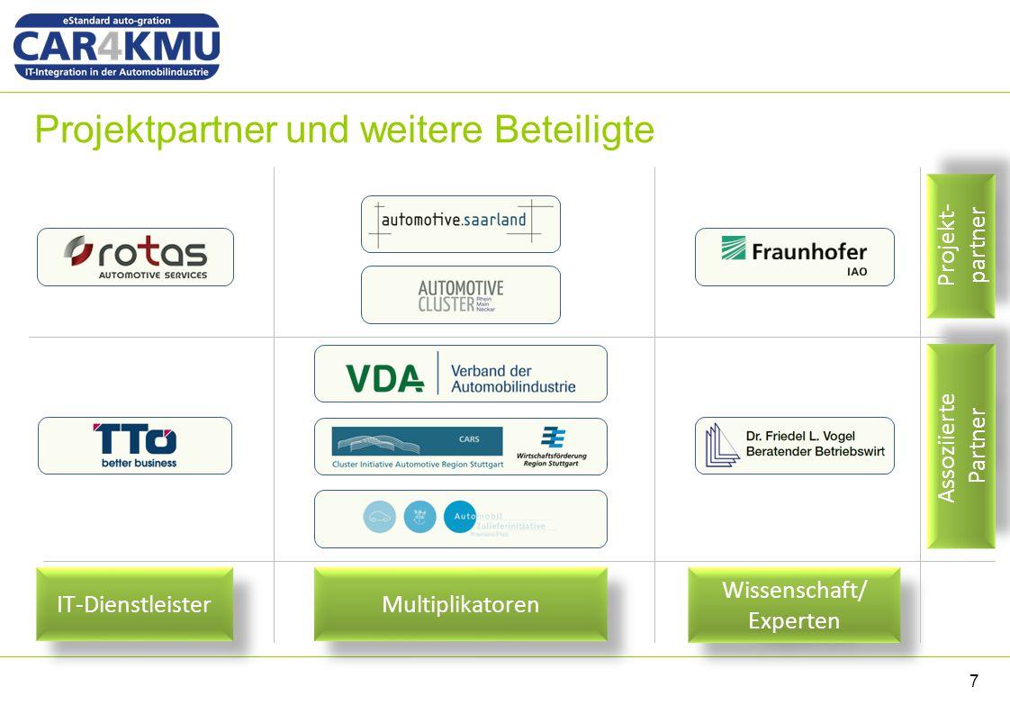 Projektpartner und weitere Beteiligte 7 Projekt- partner Projekt- partner Assoziierte Partner Multiplikatoren IT-Dienstleister Wissenschaft/ Experten