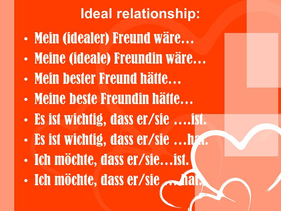 Ideal relationship: Mein (idealer) Freund wäre… Meine (ideale) Freundin wäre… Mein bester Freund hätte… Meine beste Freundin hätte… Es ist wichtig, da