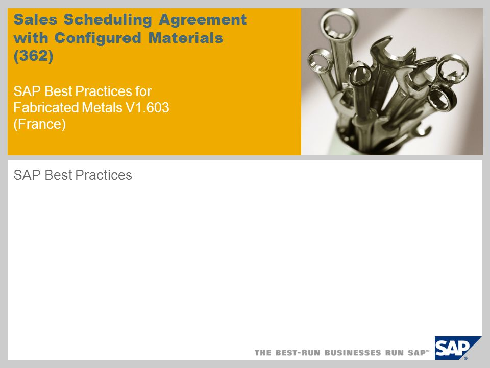 Scenario Overview – 1 Purpose and Benefits: Purpose Scheduling agreements are widely used in discrete industries.