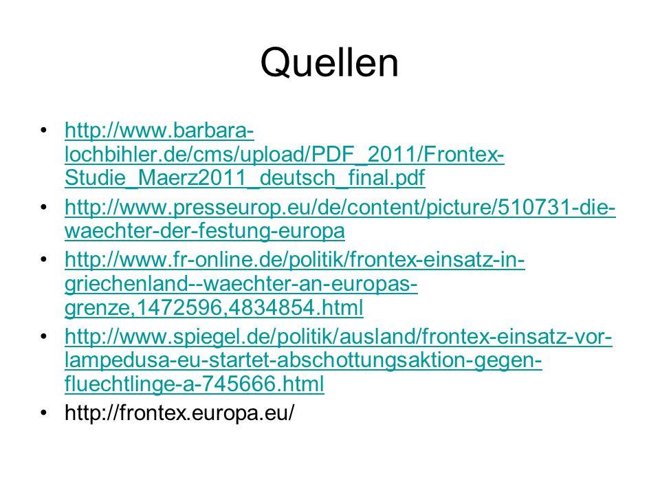 Quellen http://www.barbara- lochbihler.de/cms/upload/PDF_2011/Frontex- Studie_Maerz2011_deutsch_final.pdfhttp://www.barbara- lochbihler.de/cms/upload/