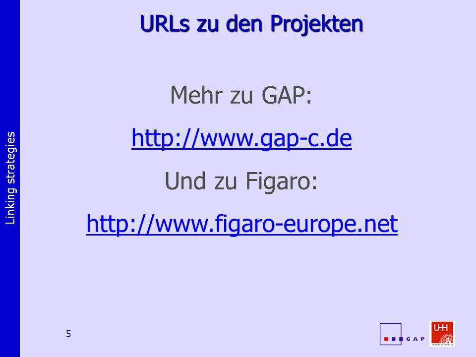 Linking strategies 5 URLs zu den Projekten Mehr zu GAP: http://www.gap-c.de Und zu Figaro: http://www.figaro-europe.net