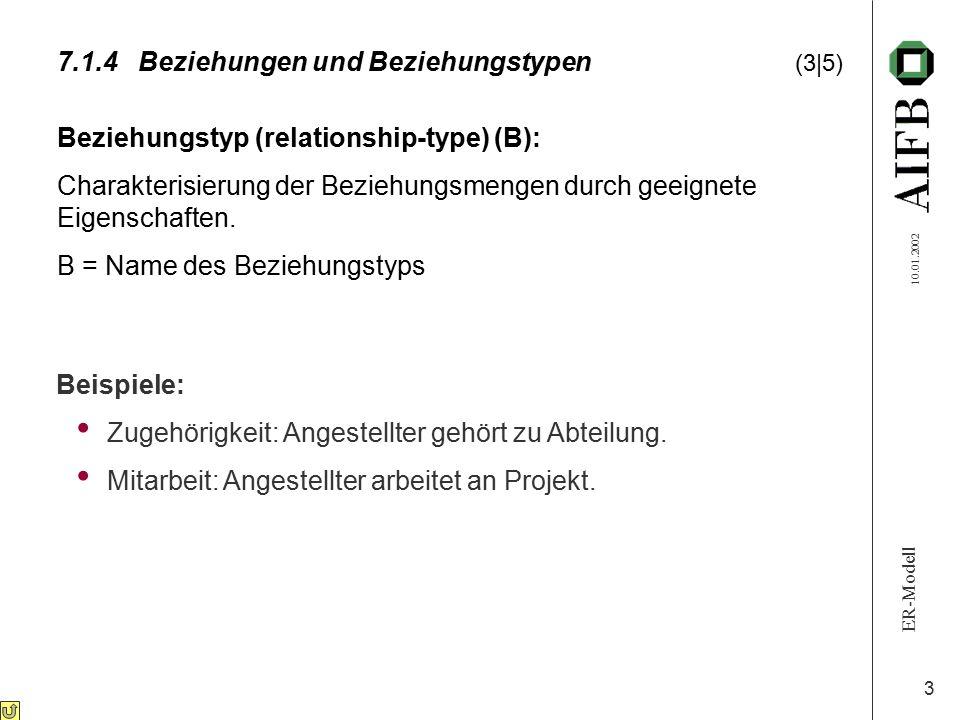 ER-Modell 10.01.2002 3 Beziehungstyp (relationship-type) (B): Charakterisierung der Beziehungsmengen durch geeignete Eigenschaften. B = Name des Bezie