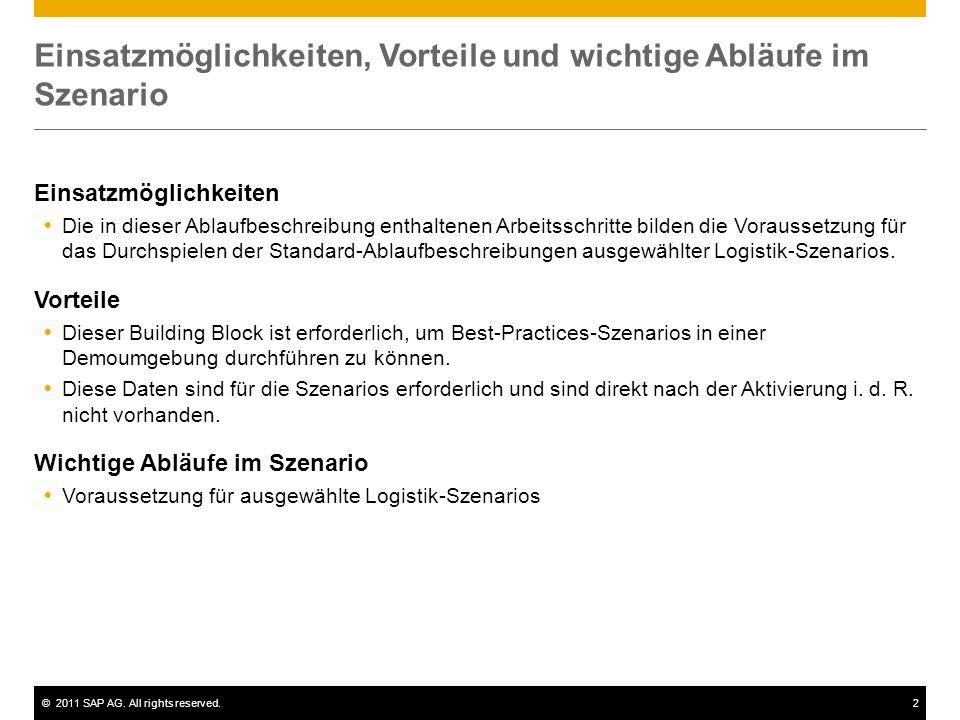 ©2011 SAP AG. All rights reserved.2 Einsatzmöglichkeiten, Vorteile und wichtige Abläufe im Szenario Einsatzmöglichkeiten  Die in dieser Ablaufbeschre