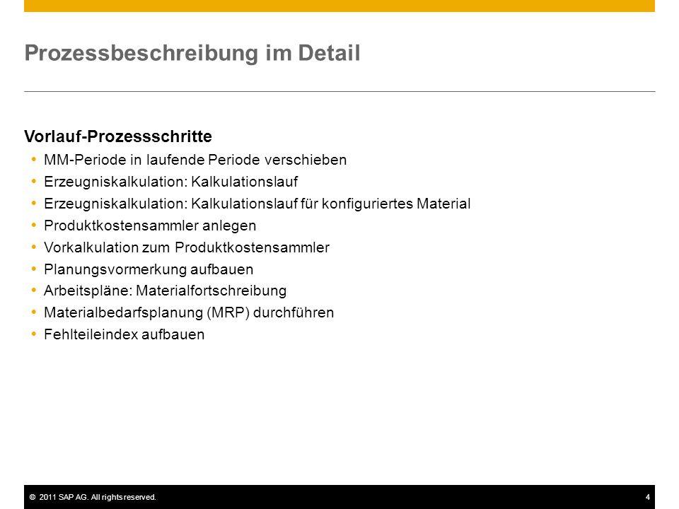 ©2011 SAP AG. All rights reserved.4 Prozessbeschreibung im Detail Vorlauf-Prozessschritte  MM-Periode in laufende Periode verschieben  Erzeugniskalk