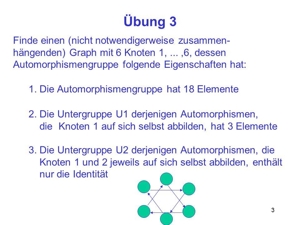 3 Übung 3 Finde einen (nicht notwendigerweise zusammen- hängenden) Graph mit 6 Knoten 1,...,6, dessen Automorphismengruppe folgende Eigenschaften hat: