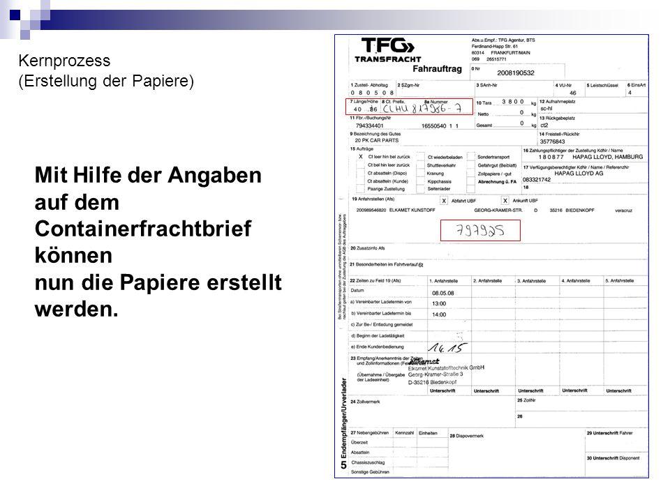 Kernprozess (Erstellung der Papiere) Mit Hilfe der Angaben auf dem Containerfrachtbrief können nun die Papiere erstellt werden.