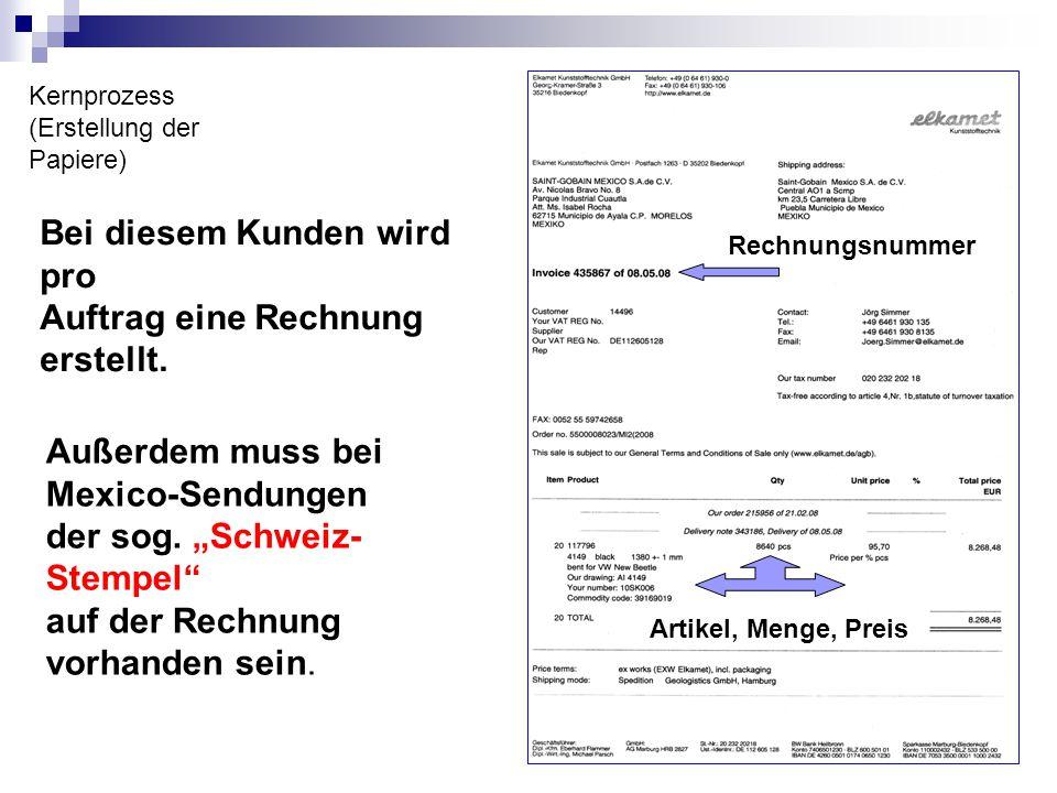 Kernprozess (Erstellung der Papiere) Rechnungsnummer Artikel, Menge, Preis Bei diesem Kunden wird pro Auftrag eine Rechnung erstellt. Außerdem muss be
