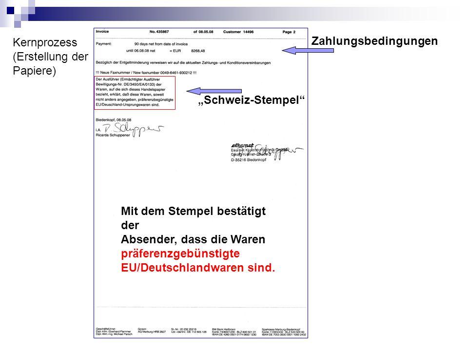 """Kernprozess (Erstellung der Papiere) Zahlungsbedingungen """"Schweiz-Stempel"""" Mit dem Stempel bestätigt der Absender, dass die Waren präferenzgebünstigte"""