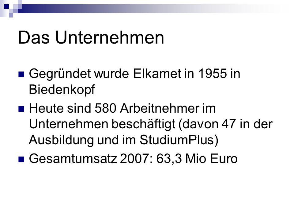 Das Unternehmen Gegründet wurde Elkamet in 1955 in Biedenkopf Heute sind 580 Arbeitnehmer im Unternehmen beschäftigt (davon 47 in der Ausbildung und i