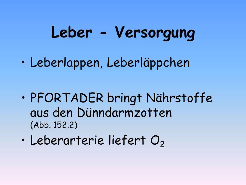 Leber - Versorgung Leberlappen, Leberläppchen PFORTADER bringt Nährstoffe aus den Dünndarmzotten (Abb. 152.2) Leberarterie liefert O 2