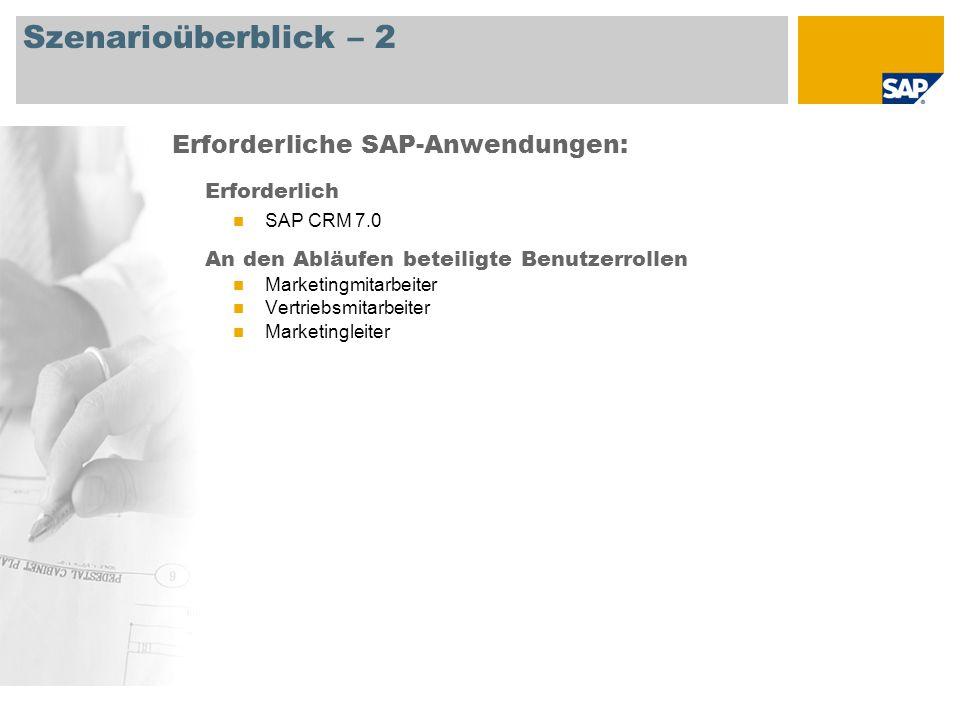 Szenarioüberblick – 2 Erforderlich SAP CRM 7.0 An den Abläufen beteiligte Benutzerrollen Marketingmitarbeiter Vertriebsmitarbeiter Marketingleiter Erforderliche SAP-Anwendungen: