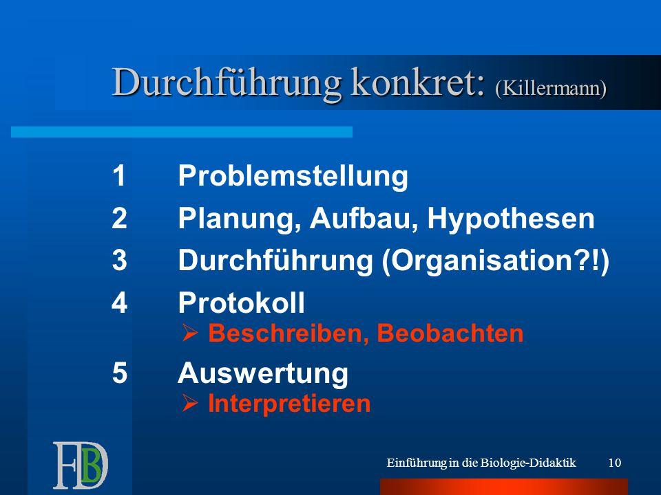 Einführung in die Biologie-Didaktik10 Durchführung konkret: (Killermann) 1Problemstellung 2Planung, Aufbau, Hypothesen 3Durchführung (Organisation?!)