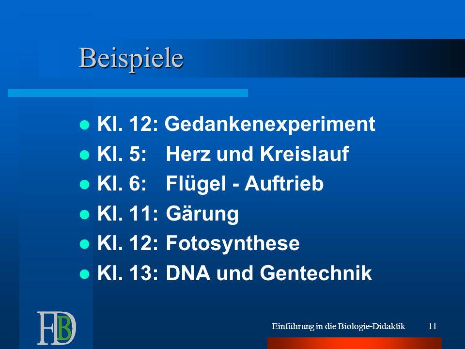 Einführung in die Biologie-Didaktik11 Beispiele Kl. 12: Gedankenexperiment Kl. 5:Herz und Kreislauf Kl. 6:Flügel - Auftrieb Kl. 11:Gärung Kl. 12:Fotos