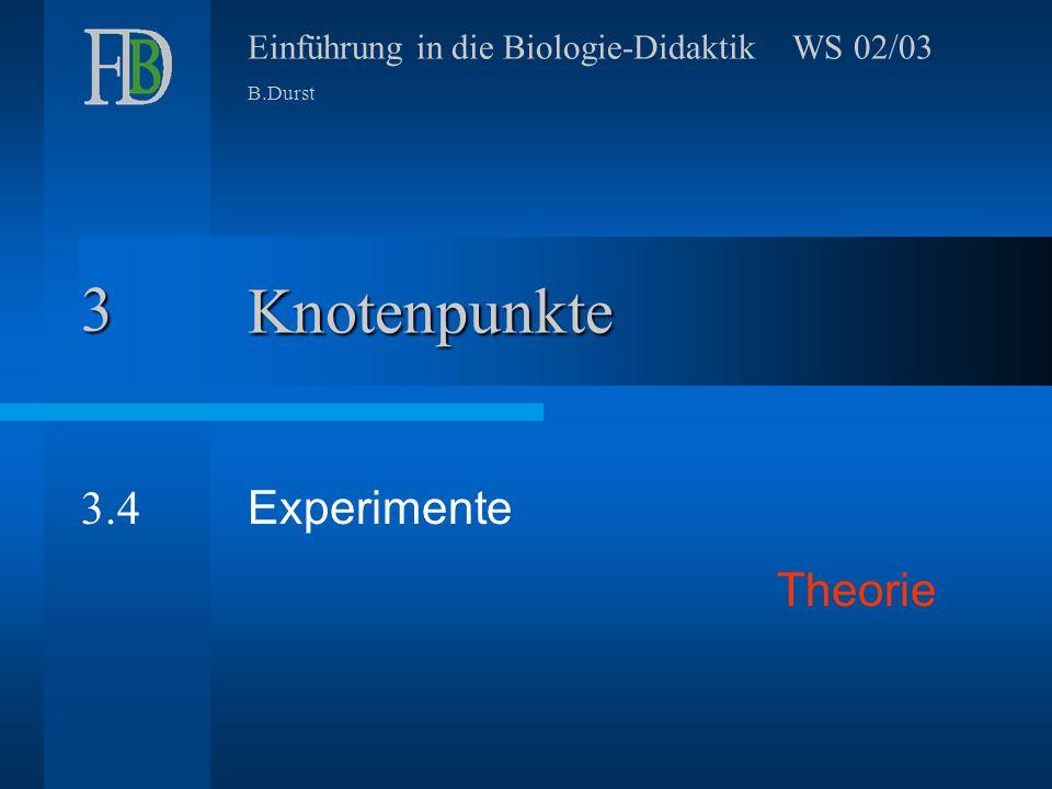 Einführung in die Biologie-Didaktik3 Probleme Erwartungen an Experimente.