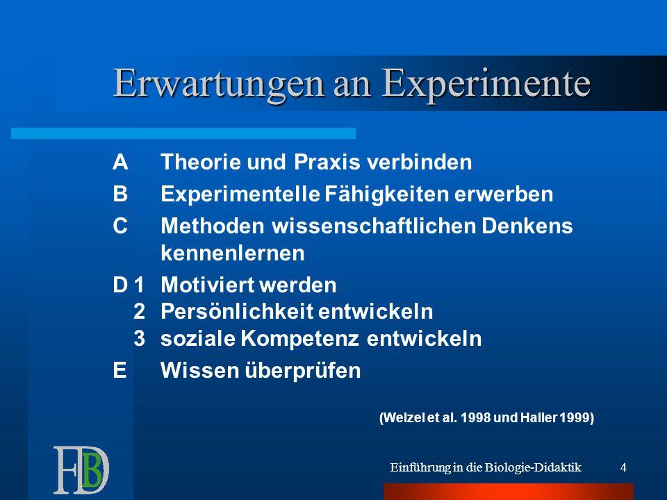 Einführung in die Biologie-Didaktik4 Erwartungen an Experimente ATheorie und Praxis verbinden BExperimentelle Fähigkeiten erwerben CMethoden wissensch