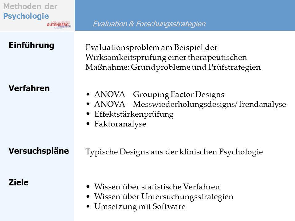 Methoden der Psychologie Einführung Evaluationsproblem am Beispiel der Wirksamkeitsprüfung einer therapeutischen Maßnahme: Grundprobleme und Prüfstrat