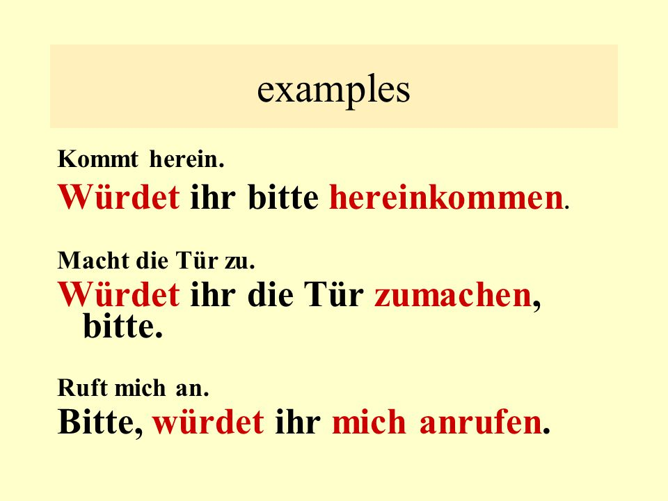 examples- convert to
