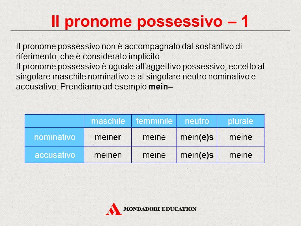 Il pronome possessivo – 1 maschilefemminileneutroplurale nominativomeinermeinemein(e)smeine accusativomeinenmeinemein(e)smeine Il pronome possessivo n