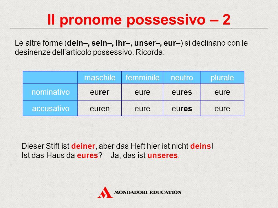 Il pronome possessivo – 2 maschilefemminileneutroplurale nominativoeurereureeureseure accusativoeureneureeureseure Le altre forme (dein–, sein–, ihr–,
