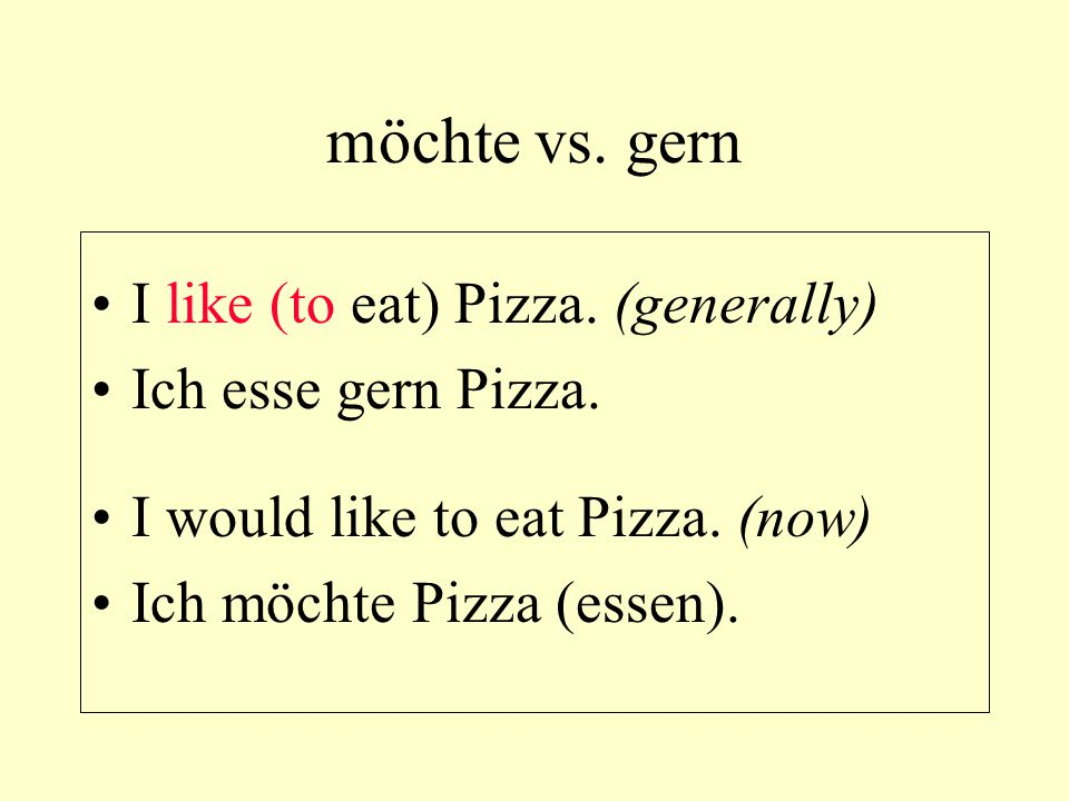möchte vs. gern I like (to eat) Pizza. (generally) Ich esse gern Pizza. I would like to eat Pizza. (now) Ich möchte Pizza (essen).
