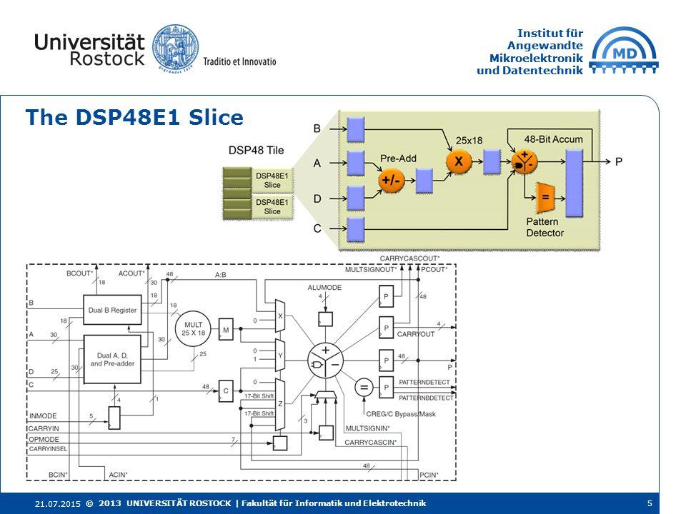 Institut für Angewandte Mikroelektronik und Datentechnik Institut für Angewandte Mikroelektronik und Datentechnik The DSP48E1 Slice 21.07.2015 5© 2013
