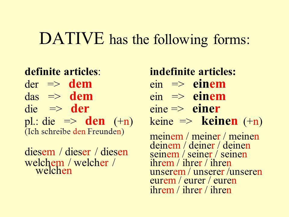 DATIVE has the following forms: Pronouns: ich du er sie wir ihr sie Question word wer mir dir ihm ihr uns euch ihnen / Ihnen wem