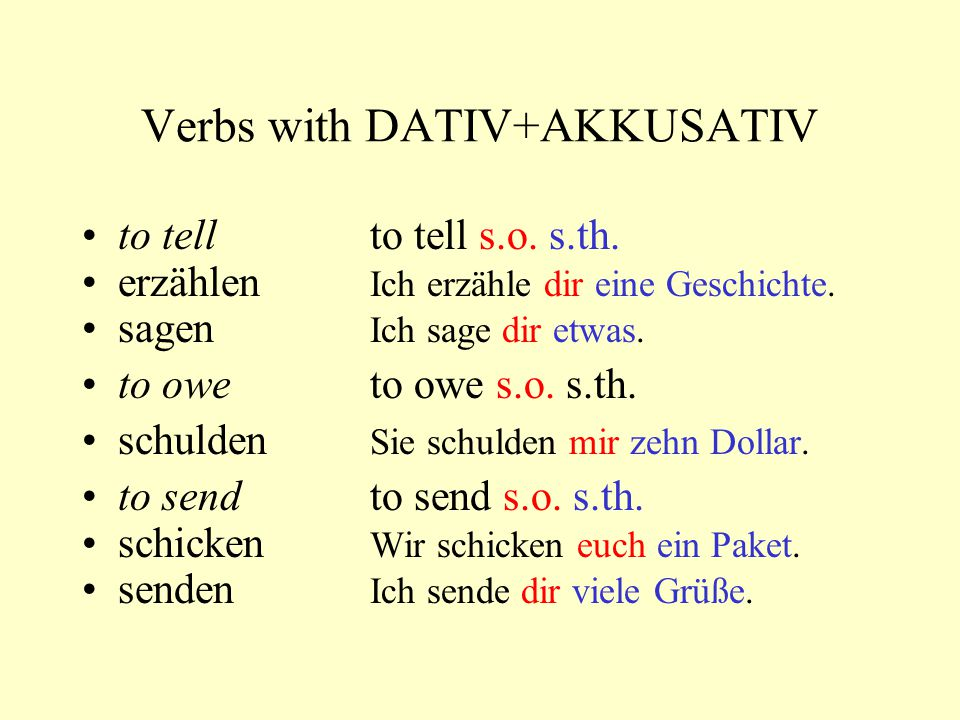 Verbs with DATIV+AKKUSATIV to tellto tell s.o.s.th.