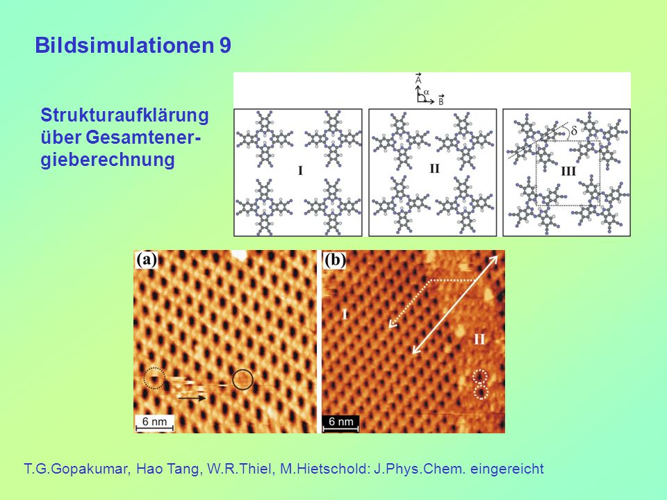 Bildsimulationen 9 T.G.Gopakumar, Hao Tang, W.R.Thiel, M.Hietschold: J.Phys.Chem.