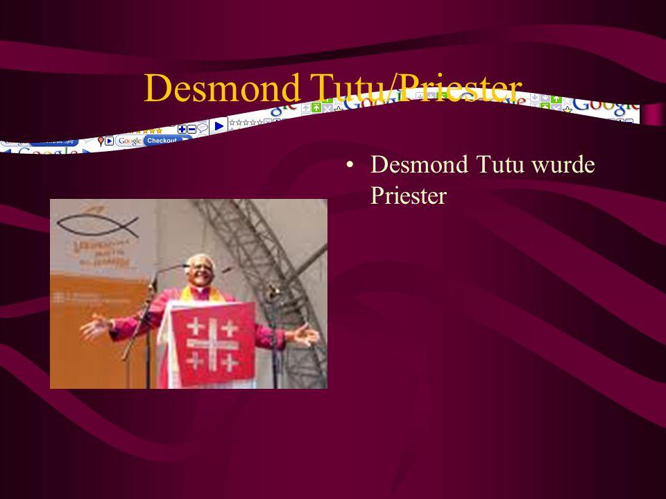 Desmond Tutu Bischof Tutu sprach sich im Namen aller Kirchen Südafrikas gegen Apartheid, wie die menschenrechtswidrige Politik der Rassentrennung der Regierung genannt wurde, aus.