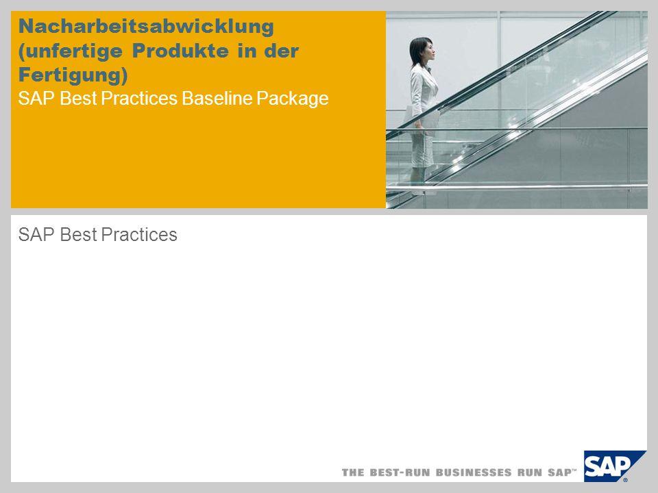 Nacharbeitsabwicklung (unfertige Produkte in der Fertigung) SAP Best Practices Baseline Package SAP Best Practices