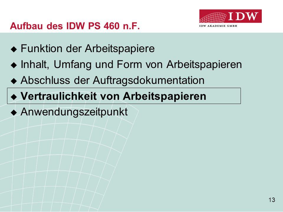 13 Aufbau des IDW PS 460 n.F.  Funktion der Arbeitspapiere  Inhalt, Umfang und Form von Arbeitspapieren  Abschluss der Auftragsdokumentation  Vert