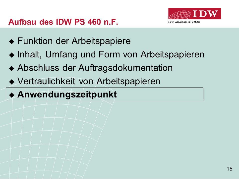 15 Aufbau des IDW PS 460 n.F.  Funktion der Arbeitspapiere  Inhalt, Umfang und Form von Arbeitspapieren  Abschluss der Auftragsdokumentation  Vert