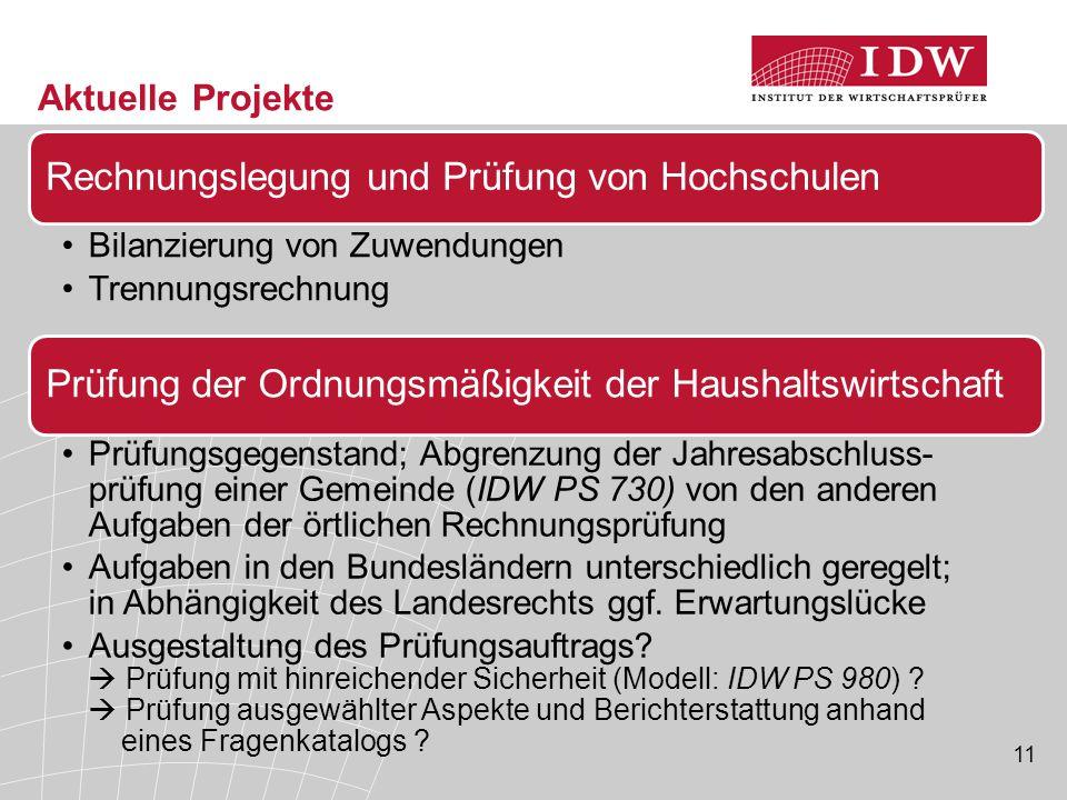 11 Aktuelle Projekte Rechnungslegung und Prüfung von Hochschulen Bilanzierung von Zuwendungen Trennungsrechnung Prüfung der Ordnungsmäßigkeit der Haus