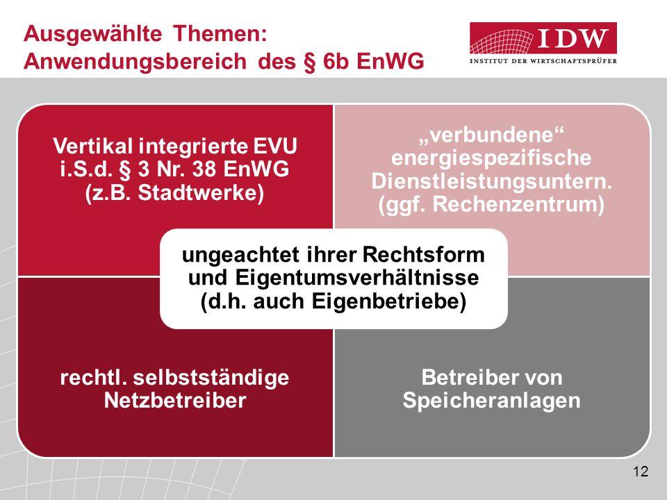 """12 Ausgewählte Themen: Anwendungsbereich des § 6b EnWG Vertikal integrierte EVU i.S.d. § 3 Nr. 38 EnWG (z.B. Stadtwerke) """"verbundene"""" energiespezifisc"""