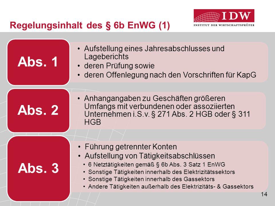 14 Regelungsinhalt des § 6b EnWG (1) Aufstellung eines Jahresabschlusses und Lageberichts deren Prüfung sowie deren Offenlegung nach den Vorschriften