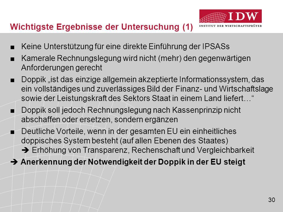30 Wichtigste Ergebnisse der Untersuchung (1) ■Keine Unterstützung für eine direkte Einführung der IPSASs ■Kamerale Rechnungslegung wird nicht (mehr)