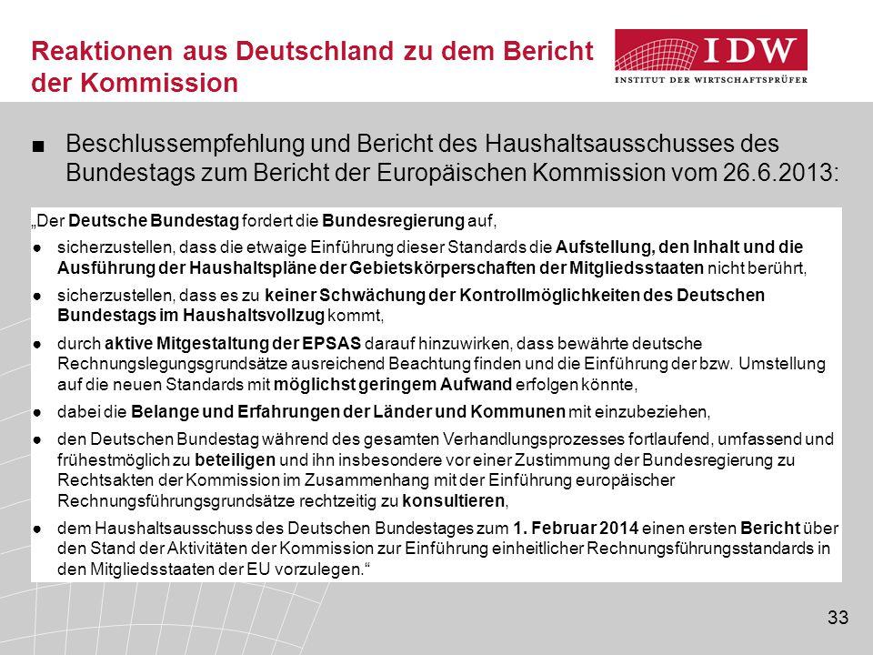 33 Reaktionen aus Deutschland zu dem Bericht der Kommission ■Beschlussempfehlung und Bericht des Haushaltsausschusses des Bundestags zum Bericht der E