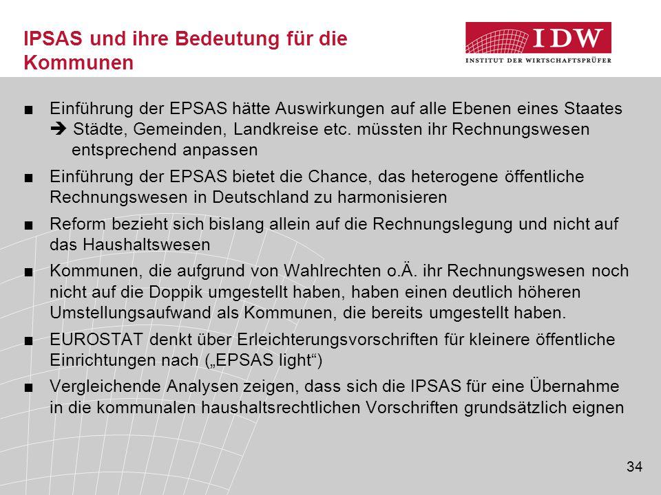 34 IPSAS und ihre Bedeutung für die Kommunen ■Einführung der EPSAS hätte Auswirkungen auf alle Ebenen eines Staates  Städte, Gemeinden, Landkreise et
