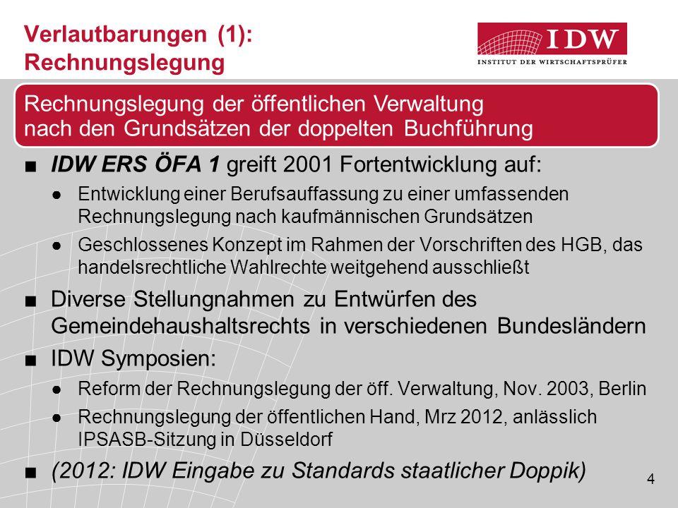 4 Verlautbarungen (1): Rechnungslegung ■IDW ERS ÖFA 1 greift 2001 Fortentwicklung auf: ●Entwicklung einer Berufsauffassung zu einer umfassenden Rechnu