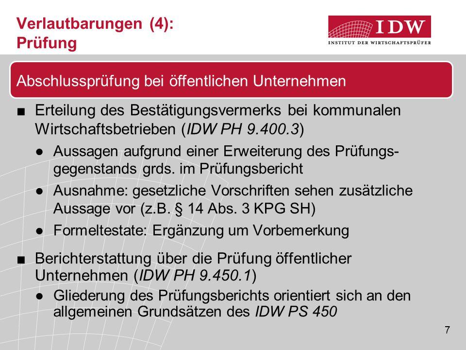 7 Verlautbarungen (4): Prüfung ■Erteilung des Bestätigungsvermerks bei kommunalen Wirtschaftsbetrieben (IDW PH 9.400.3) ●Aussagen aufgrund einer Erwei