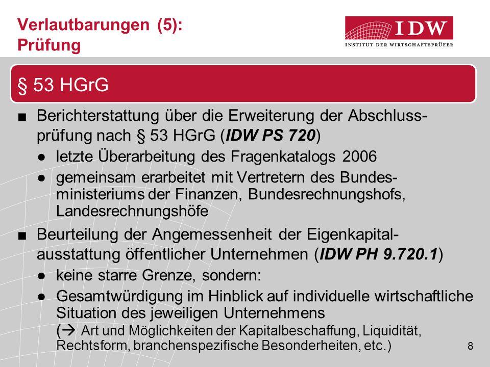 8 Verlautbarungen (5): Prüfung ■Berichterstattung über die Erweiterung der Abschluss- prüfung nach § 53 HGrG (IDW PS 720) ●letzte Überarbeitung des Fr