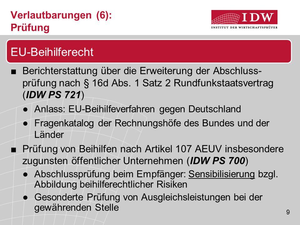 9 Verlautbarungen (6): Prüfung ■Berichterstattung über die Erweiterung der Abschluss- prüfung nach § 16d Abs. 1 Satz 2 Rundfunkstaatsvertrag (IDW PS 7
