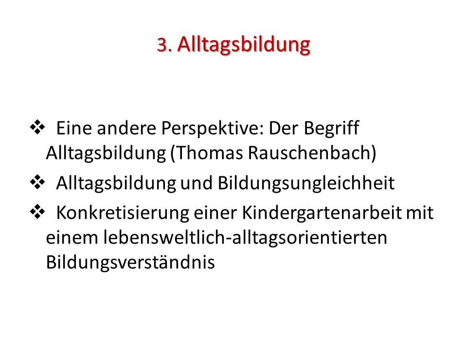 3. Alltagsbildung  Eine andere Perspektive: Der Begriff Alltagsbildung (Thomas Rauschenbach)  Alltagsbildung und Bildungsungleichheit  Konkretisier