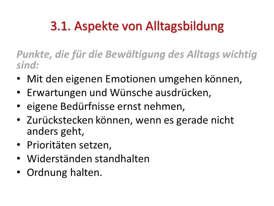 3.1. Aspekte von Alltagsbildung Punkte, die für die Bewältigung des Alltags wichtig sind: Mit den eigenen Emotionen umgehen können, Erwartungen und Wü