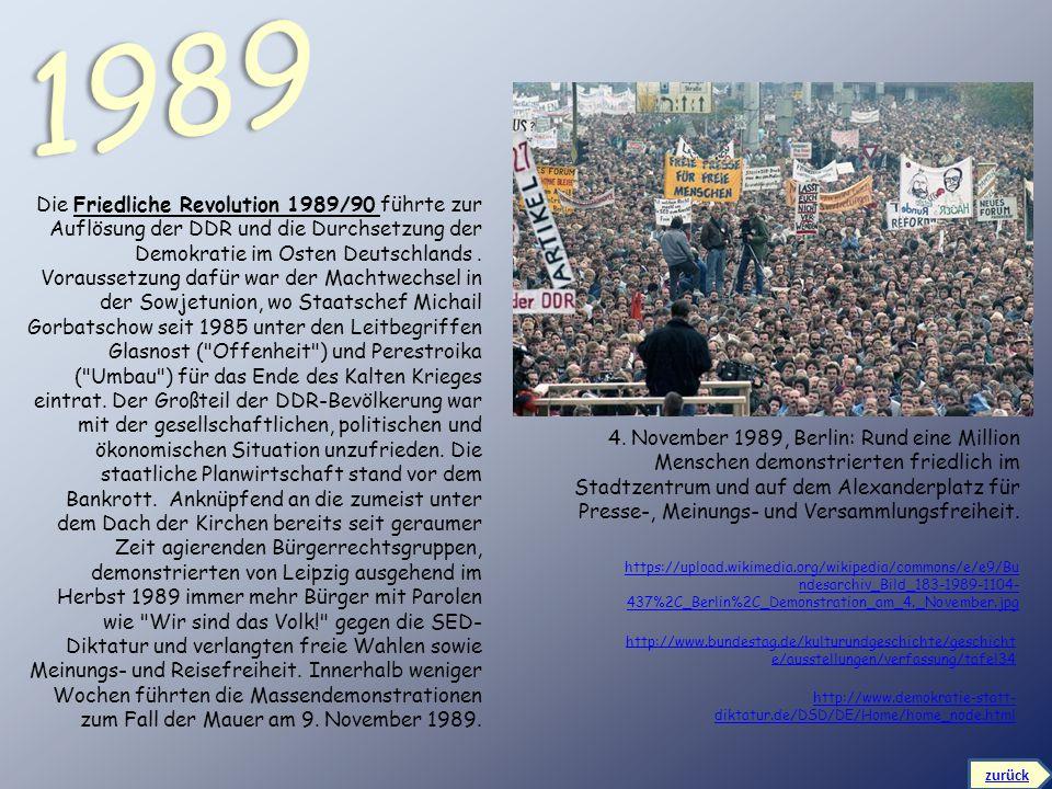4. November 1989, Berlin: Rund eine Million Menschen demonstrierten friedlich im Stadtzentrum und auf dem Alexanderplatz für Presse-, Meinungs- und Ve
