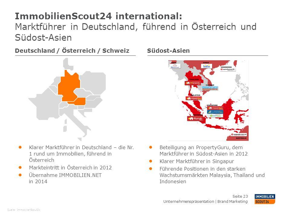ImmobilienScout24 international: Marktführer in Deutschland, führend in Österreich und Südost-Asien Deutschland / Österreich / SchweizSüdost-Asien ● K