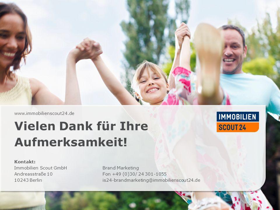 www.immobilienscout24.de Vielen Dank für Ihre Aufmerksamkeit! Kontakt: Immobilien Scout GmbH Andreasstraße 10 10243 Berlin Brand Marketing Fon +49 (0)