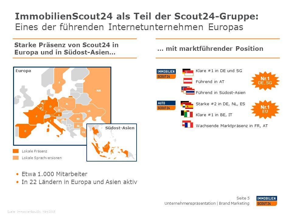 ImmobilienScout24 als Teil der Scout24-Gruppe: Eines der führenden Internetunternehmen Europas Unternehmenspräsentation | Brand Marketing Seite 5 Star