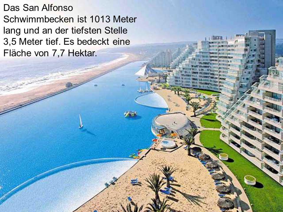 An der Pazifikküste, 130 km von Santiago, Chile San Alfonso del Mar Dieser Ferienkomplex, mit seinen weißen Sandstrand, Restaurants, Kinos und Nachtclubs wurde im Jahr 2007 gebaut, Er mag wie jeder andere Ort aussehen...